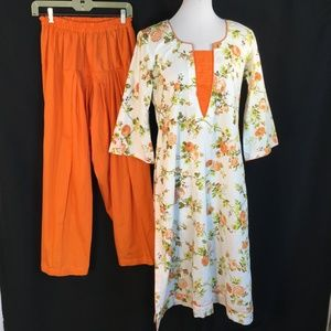 Modest Kurti Orange Floral Tunic Harem Pants Med